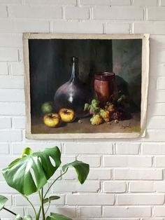 Original Ölbild, Vintage Stilleben Öl, Boho Stil, Trauben und Äpfel, Mid Century Art, Öl auf Leinwand, Künstler signiert, Malerei, Gemälde von moovi auf Etsy
