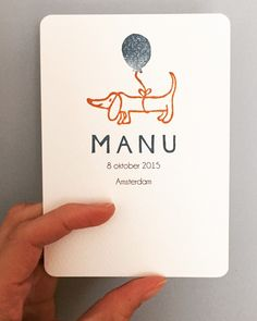 A handstamped custom birth announcement card for babyboy MANU . A dachshund welcomes and announces MANU . The date and place of birth was . Baby Birth, Inspiration For Kids, Photoshop Design, Doodle Drawings, Baby Shower Parties, Shower Party, Baby Prints, Baby Cards, Kids Playing