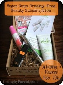 Crunchy Parent-Vegan Cuts Beauty Subscription Unboxing & Review: February 2016 featuring The Wonder Seed, Harvey Prince Organics, 100% Pure, and Tara Smith Haircare. Includes March sneak peek