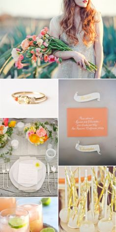 coral gold and orange wedding inspiration