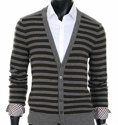 Gray & Brown Stripe Cardigan, SCTO