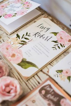Snippets, Whispers and Ribbons ~ 5 Gorgeous Summer Rose Wedding Invitations