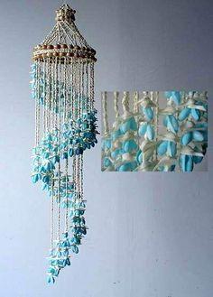 Blue Bubble Seashell Spiraling Wind Chimes