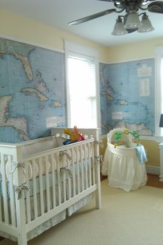 perfect nursery idea - Map nerd! Frame a school map with molding for same effect.
