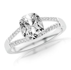 1.35 Carat Curving Split Shank Diamond Engagement Ring w/ Cushion Cut Center (J Color SI1 Clarity) | Your #1 Source for Jewelry and Accessories