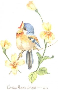 In My Heart There Is a Melody - Carolyn Shores Wright Watercolor Bird, Watercolor Illustration, Watercolor Paintings, Nature Sketch, Decoupage, Cute Birds, Vintage Birds, Little Birds, Bird Art