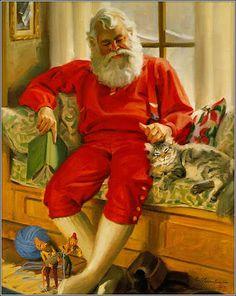 Santa Christmas Scenes, Noel Christmas, Father Christmas, Christmas Kitty, Christmas Mantles, Christmas Villages, Victorian Christmas, Christmas Christmas, Christmas Ornaments