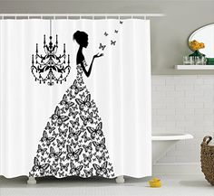 Fabric Shower Curtain by Ambesonne, Love Home Decor Country Wedding Gifts for Romantic Wife Women Artwork Prints Butterflies Princess Retro Parisienne Chic Girls Teens Bachelorette Party, Black White