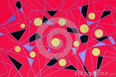 hand-gel-pen-drawing-triangles-black-blue-yellow-circles-bright-pink-background