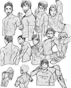Anime boys references - sketch art body drawing, anatomy drawing, gesture d Character Design Cartoon, Character Sketches, Character Design References, Character Art, Figure Drawing Reference, Anatomy Reference, Art Reference Poses, Anatomy Sketches, Anatomy Drawing