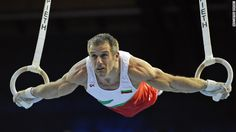 "Bulgaria's ""Silver Fox,"" Jordan Jovtchev, 39 (seen here in the 2008 European Men's Artistic Gymnastics Championships), specializes in rings and has competed in six Olympic games."