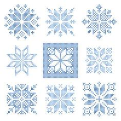 Illustration of Set of 9 cross-stitch snowflakes pattern, Scandinavian style. Geometric redwork ornament for embroidery. Perfect for Christmas design. Vector illustration vector art, clipart and stock vectors. Cross Stitch Christmas Ornaments, Xmas Cross Stitch, Cross Stitch Cards, Simple Cross Stitch, Modern Cross Stitch, Cross Stitch Kits, Cross Stitch Designs, Cross Stitching, Cross Stitch Embroidery