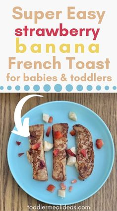 A quick and easy homemade breakfast idea with no added sweeteners - perfect for babies and toddlers. Strawberry banana french toast uses just a few simple ingredients and isn't much more difficult than making normal french toast - but its a lot more delicious! Easy Toddler Lunches, Healthy Toddler Meals, Toddler Food, Kids Meals, Healthy Food, Healthy Recipes, Homemade French Toast, Banana French Toast, Homemade Breakfast