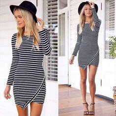 """Chic Series"" Long Sleeve Slim  Wide Ruffle Striped Mini Dress"