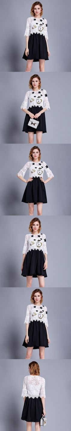 High Quality 2017 Designer Runway Suit Set Womens 2 Piece Cartoon Embroidery Shirt Tops + Sexy Lace Harness Dress Streetwear
