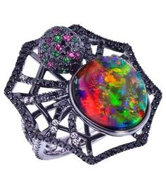Aussie Red Back Opal Spider Ring. Not exactly something I'd wish to wear, but what an incredible opal!