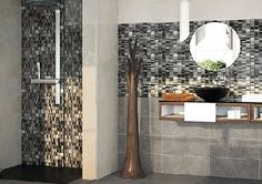 Mosaic - Teide Mosaic by Dekostock 320mm x 320mm A brilliant mixed material mosaic with different shades of black and grey to fit any contemporary room. With an almost metallic look, this is unique mosaic to fit any modern space.