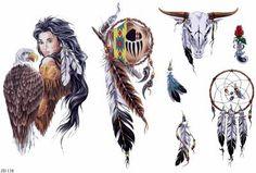 Native American Eagle Girl And Symbol Tattoo Designs