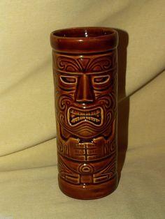Siesta Ware Mug Cup Blue Tiki Island Graphics Wood Handle