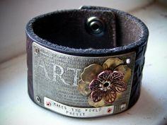 ART...Leather Cuff. $80.00, via Etsy.