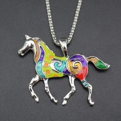 Colorful Running Horse Necklace
