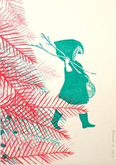 Gravures & Estampes   Evelyne Mary   Chaperon   Tirage d'art en série limitée sur L'oeil ouvert