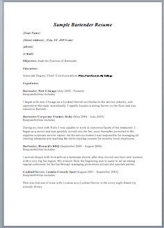 printable bartender resume format httpwwwjobresumewebsiteprintable - Printable Resume Builder