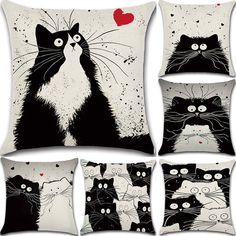 Black and White Cat Cotton Linen Pillow Case Cute Sofa Throw Cushion Cover Decor #Cats #Pets #Pillows #PillowCase #Sofa #Cushion