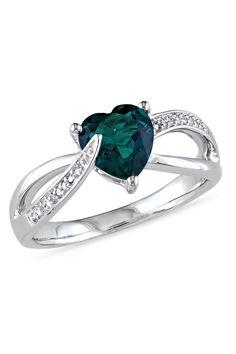 Emerald & Diamond Silver Ring