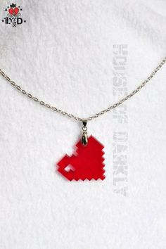 LOVE laser-cut acrylic pixel heart necklace by houseofdarkly Valentine Day Gifts, Valentines, Laser Cut Jewelry, Laser Cut Acrylic, Geek Girls, Geek Chic, Laser Cutting, Laser Engraving, Arrow Necklace