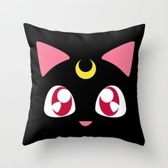 Luna in Black (Request) Throw Pillow by discojellyfish - $20.00