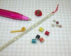 Miniature Sewing Doo Dads Pin Cushion Threads etc Dollhouse Miniatures 1 12 | eBay