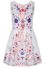 ROMWE Floral Print & Embossment White Sleeveless Dress
