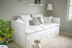 IKEA HEMNES Day Bed Frame with 3 Drawers, White for sale on Trade Me, New Zealand's auction and classifieds website Daybed Room, Bedroom Sofa, Ikea Bedroom, Bedroom Decor, Day Bed Decor, Ikea Hemnes Daybed, Hemnes Day Bed, Murphy Bed Ikea, Murphy Bed Plans
