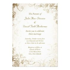 Elegant Antique Gold Vintage Wedding Invitation