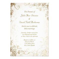 Elegant Antique Gold Vintage Wedding Invitation