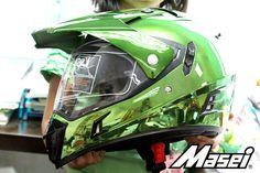Masei 311 Motocross ATV DOT Dirtbike Helmet CHROME GREEN L XL