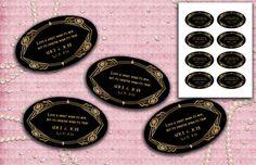 Art Deco Gatsby Style Wedding Stickers  Oval Labels  by StudioDMD, $5.00