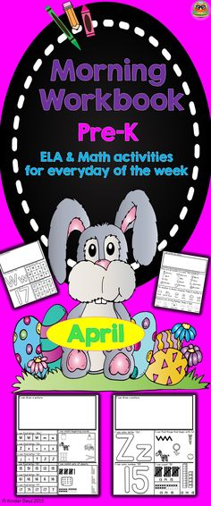 This morning's workbook was created for pre-k and/or kindergarten students. It contains 44 pages (2 pages every day) PLUS 9 extras: Letter Circle Maps, Number Color and Count Worksheets,  Easter Mini Book, Egg Color Review and Easter Theme Graph. Daily Tracker Sheet in which the following questions are answered each morning.