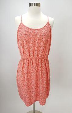 Old Navy Salmon Pink Print Cami Sundress Womens Size Large Elastic Waist   OldNavy  Sundress a8d3a5f90da0a