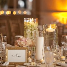 pretty centerpieces at this beautiful ocean-view palm beach wedding.