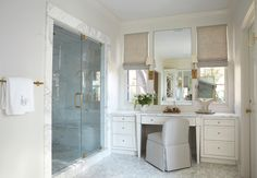 His & Hers Interior Designer Libby Greene gets in touch with her feminine (and masculine) side while designing his-and-her baths for longtime clients.