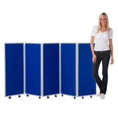 Mobile Folding Room Divider, 5 panel, 1200mm high, Nyloop Fabric