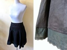 black faux suede skirt (30 inches) by VintageHomage on Etsy