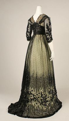 Edwardian silk and cotton ball gown with glass beading and metallic threading [American], c. 1908 {back view}