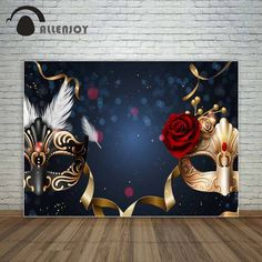 Online Shop Allenjoy black and golden masks red rose dance party prom backdrop masquerade party golden ribbons background vinyl photography Masquerade Ball Decorations, Masquerade Party Decorations, Masquerade Ball Party, Sweet 16 Masquerade, Masquerade Wedding, Masquerade Theme, Prom Backdrops, Backdrops For Parties, Ideas Party