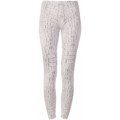 DUE Fashion - White Crocodile Leggings (81 AUD) ❤ liked on Polyvore featuring pants, leggings, legging pants, white stretch pants, stretch pants, elastic waist pants and stretchy pants