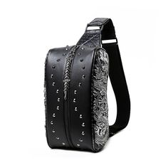 """MATMO European American Wind 3D Shoulder Bag PU Leather Small Chest Bag for Man Silver. High quality PU leather material, zipper chest bag for men, lining is thick polyester. Special 3D technology, pillow type, fashion European and America wind, two dragon patterns at sides. Personality rivet luxury customization, handmade production craft. Dimension: 12.2""""(L)*6.3""""(H)*3.94""""(W)(31cm*16cm*10cm). Packing method: non-woven bag and plastic bag."""