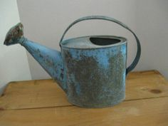 Antique Watering Can Old Blue Paint