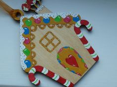 Handpainted Wooden Gingerbread house Christmas Decoration